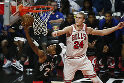 March 15, 2019 - Los Angeles, California, U.S - Los Angeles ClippersÃ• Shai Gilgeous-Alexander (2) goes to basket while defended by Chicago Bulls' Lauri Markkanen (24) during an NBA basketball game between Los Angeles Clippers and Chicago Bulls Friday, March 15, 2019, in Los Angeles. The Clippers won 128-121. (Credit Image: © Ringo Chiu/ZUMA Wire)