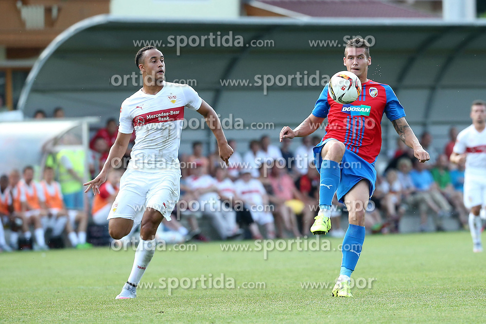 05.07.2015, Lindenstadion, Hippach, AUT, Testspiel, VfB Stuttgart vs FC Viktoria Pilsen, im Bild Jerome Kiesewetter (VfB Stuttgart) links gegen Lukas Hejda (FC Viktoria Pilzen) rechts // during a International Friendly Match between VfB Stuttgart and FC Viktoria Pilsen at the Lindenstadion in Hippach, Austria on 2015/07/05. EXPA Pictures &copy; 2015, PhotoCredit: EXPA/ Eibner-Pressefoto/ Fudisch<br /> <br /> *****ATTENTION - OUT of GER*****