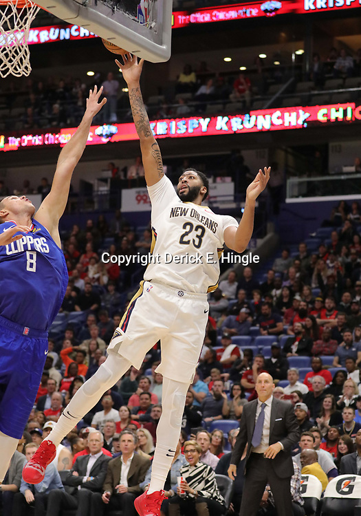 Oct 23, 2018; New Orleans, LA, USA; New Orleans Pelicans forward Anthony Davis (23) shoots over Los Angeles Clippers forward Danilo Gallinari (8) during the second half at the Smoothie King Center. The Pelicans defeated the Clippers 116-109. Mandatory Credit: Derick E. Hingle-USA TODAY Sports