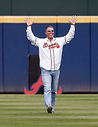 ATLANTA, GA - OCTOBER 2:  Former third baseman Chipper Jones #10 of the Atlanta Braves acknowledges the crowd as he walks on the field for pre-game ceremonies honoring the last game at Turner Field before the game between the Detroit Tigers and the Atlanta Braves on Sunday, October 2, 2016 in Atlanta, Georgia. (Photo by Mike Zarrilli/MLB Photos via Getty Images) *** Local Caption ***