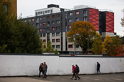 © Licensed to London News Pictures . 11/10/2018. Salford , UK . GV of temporary cladding on lower levels with unsafe cladding in place above . Recently installed cladding at several council-owned tower blocks in Salford has been identified as having similar dangerous properties to that which was installed on the Grenfell Tower in London . Residents have been waiting months for clarification on what action will be taken to make their homes safe . Photo credit : Joel Goodman/LNP