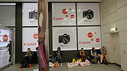 Photokina in Cologne ist the World's biggest bi-annual photo fair. Canon. Tired visitors.