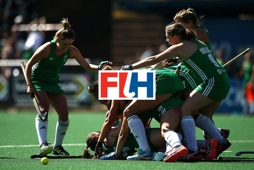 JOHANNESBURG, SOUTH AFRICA - JULY 22:  Lizzie Colvin of Ireland celebrates her goal and the winning goal with team mates during day 8 of the FIH Hockey World League Women's Semi Finals 7th/ 8th place match between India and Ireland at Wits University on July 22, 2017 in Johannesburg, South Africa.  (Photo by Jan Kruger/Getty Images for FIH)