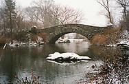 Gapstow Bridge during a snow storm; Central Park, New York City