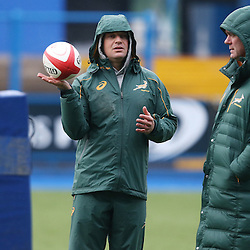 CARDIFF, WALES - NOVEMBER 25: Louis Koen  Kicking coach with Heyneke Meyer (Head Coach) of South Africa  during the South African national rugby team training session at Cardiff Arms Park on November 25, 2014 in Cardiff, Wales. (Photo by Steve Haag/Gallo Images)