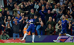 LIVERPOOL, ENGLAND - Wednesday, September 26, 2018: Chelsea's Emerson Palmieri dos Santos celebrates scoring the equalising goal, as a supporter invades the pitch, during the Football League Cup 3rd Round match between Liverpool FC and Chelsea FC at Anfield. Chelsea won 2-1. (Pic by David Rawcliffe/Propaganda)