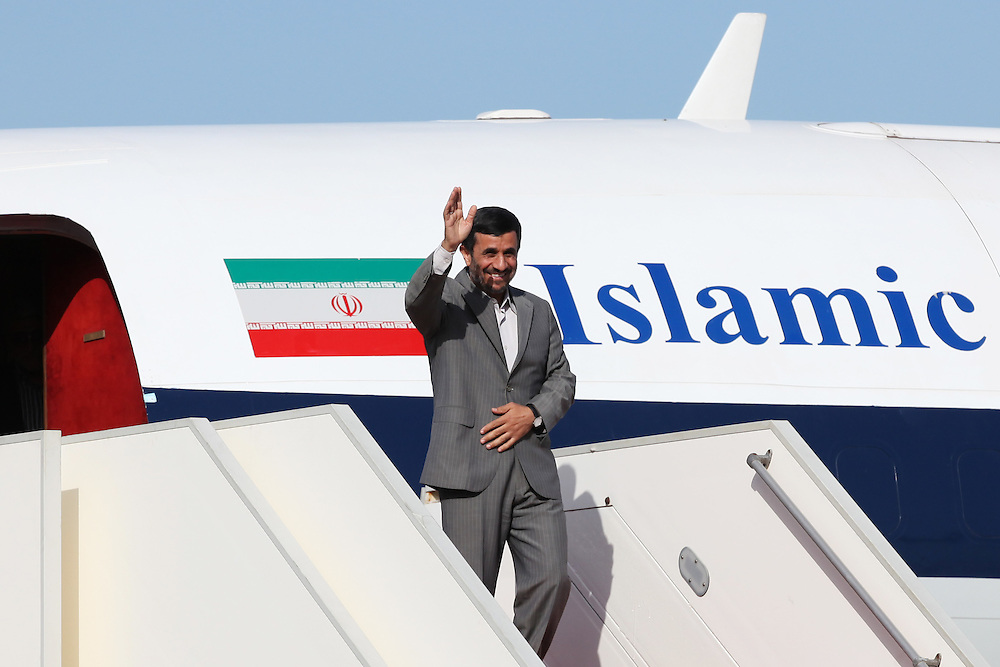 Iranian President Mahmoud Ahmadinejad arrived in Beirut this morning for the start of a two-day trip to Lebanon. Ahmadienajd's visit aims to strenghten economic ties between the two nations, however, Western-backed Lebanese politicians claim his visit seeks to interfere in internal Lebanese politics. Iran is a close ally and supporter of the Shia Islamic Lebanese political and resistance group, Hizballah. ///Iranian President Mahmoud Ahmadinejad arrives in Beirut.