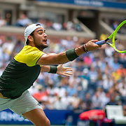 2019 US Open Tennis Tournament- Day Ten.  Matteo Berrettini of Italy in action against Gael Monfils of France in the Men's Singles Quarter-Finals match on Arthur Ashe Stadium during the 2019 US Open Tennis Tournament at the USTA Billie Jean King National Tennis Center on September 4th, 2019 in Flushing, Queens, New York City.  (Photo by Tim Clayton/Corbis via Getty Images)