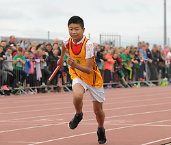 Chris Durkan from Ballinrobe competing in the boys u14 relay at Mayo Community Games.<br /> Pic Conor McKeown