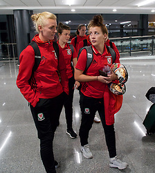 ASTANA, KAZAKHSTAN - Thursday, September 14, 2017: Wales' Sophie Ingle and Angharad James arrive at Astana Nursultan Nazarbayev International Airport as the squad travel to Kazakhstan ahead of the FIFA Women's World Cup 2019 Qualifying Round Group 1 match against Kazakhstan. (Pic by David Rawcliffe/Propaganda)