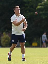 Nick Carpenter of Bristol Rugby throws the ball - Photo mandatory by-line: Dougie Allward/JMP - Mobile: 07966 386802 - 29/07/2015 - SPORT - Cricket - Bristol - Westbury Fields - Bishopston CC v Bristol Rugby - Exhibition Game