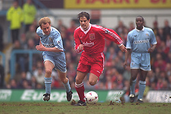 COVENTRY, ENGLAND - Saturday, April 6, 1996: Liverpool's Jamie Redknapp in action against Coventry City's Kevin Richardson during the Premiership match at Highfield Road. Coventry won 1-0. (Pic by David Rawcliffe/Propaganda)