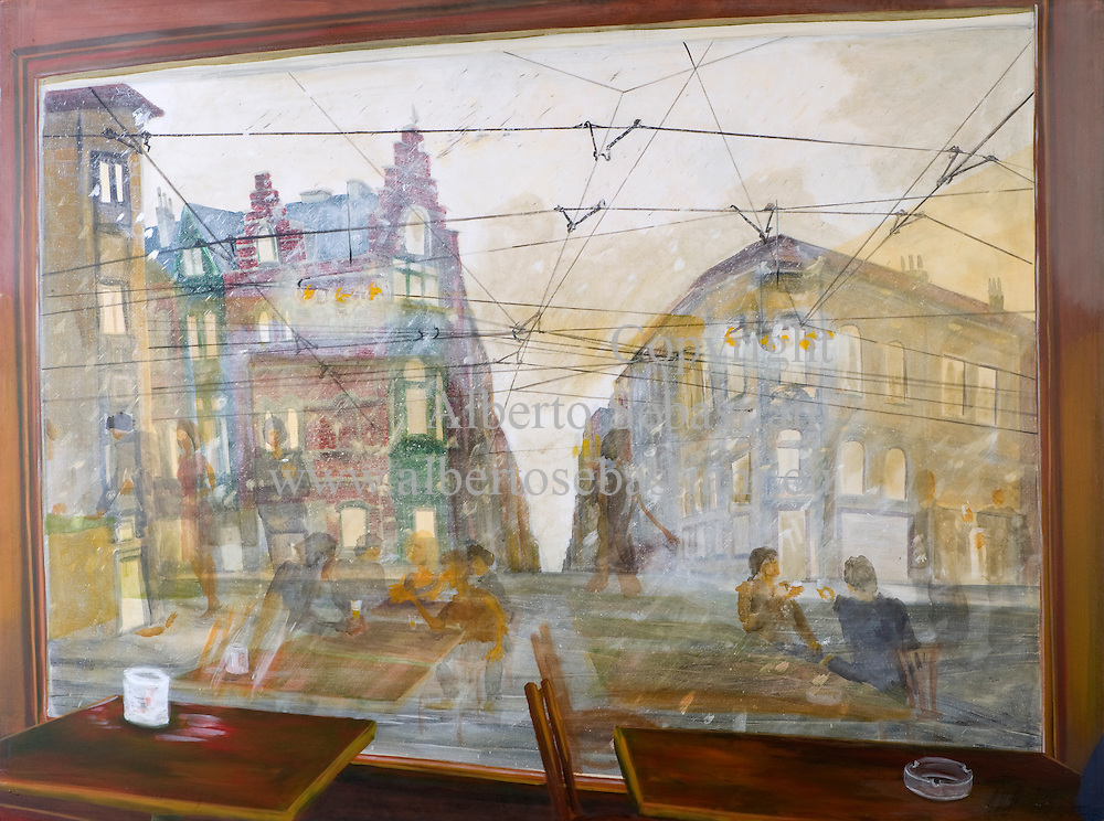 A painting representing the view of the outside of a public place through the window in an european town; hand painted picture. this painting was created as a hand made work folowing exclusively my own fantasy and personal inspiration; it is an original composition of which I'm the sole author