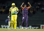 Tharanga Lakshithacelebrates the wicket of Mahela Udawatta during match 6 of the Sri Lankan Premier League between Ruhuna and Uthura held at the Premadasa Stadium in Colombo, Sri Lanka on the 14th August 2012<br />  <br /> Photo by Ron Gaunt/SPORTZPICS/SLPL
