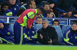 LONDON, ENGLAND - Wednesday, December 10, 2014: Chelsea's manager Jose Mourinho prepares to bring on substitute Ruben Loftus-Cheek against Sporting Clube de Portugal during the final UEFA Champions League Group G match at Stamford Bridge. (Pic by David Rawcliffe/Propaganda)