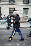 The U.S. Army National Guard's 1st Battalion 69th Infantry unit marching at the head of the 2015 St. Patrick's Day Parade in New York city.