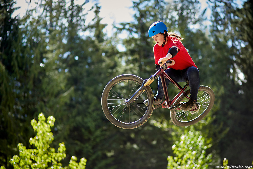 Trish Bromley catches air off a dirt jump in Whistler, British Columbia.