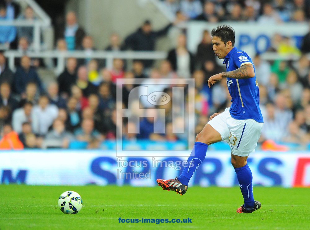 Leonardo Ulloa of Leicester City passes the ball during the Barclays Premier League match at St. James's Park, Newcastle<br /> Picture by Greg Kwasnik/Focus Images Ltd +44 7902 021456<br /> 18/10/2014