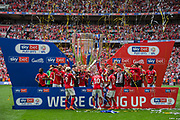 Charlton Athletic FC celebrating their win & promotion to the Championship League during the EFL Sky Bet League 1 play off final match between Charlton Athletic and Sunderland at Wembley Stadium, London, England on 26 May 2019.