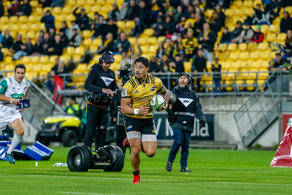 Ben Lam runs to score during the Super rugby (Round 12) match played between Hurricanes  v Lions, at Westpac Stadium, Wellington, New Zealand, on 5 May 2018.  Hurricanes won 28-19.