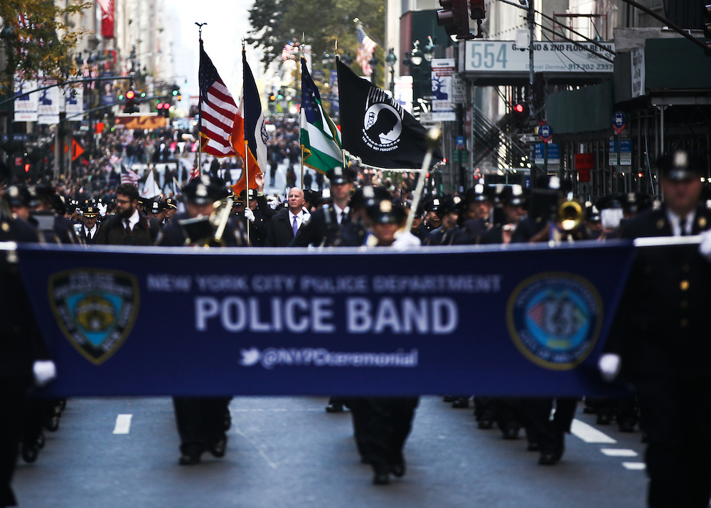 Police Commissioner James O'nell joined members and supporters of the U.S. Armed services came to celebrate their sacrifices during the Veterans Day Parade in Manhattan on Friday, November 11, 2016. (Credit: Byron Smith)