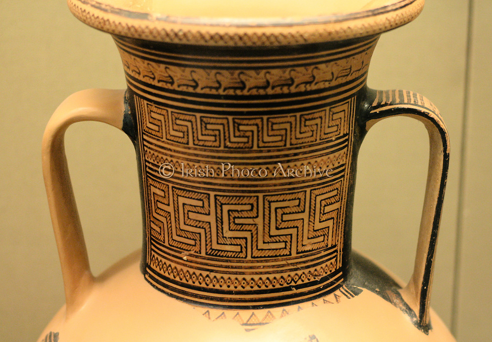 Detail from the Elgin Amphora. Greek, made in Athens circa 760-750 BC. Late Geometric period. Attributed to artist Dipylon Painter.