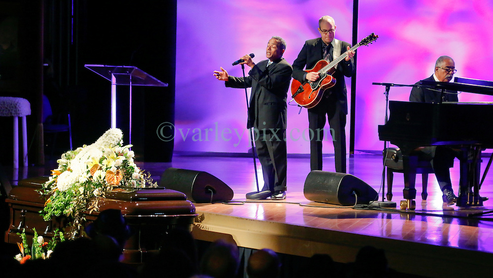 20 November 2015. Orpheum Theater, New Orleans, Louisiana. <br /> Memorial service for musician Allen Toussaint. <br /> John Boutté performs on stage.<br /> Photo; Charlie Varley/varleypix.com