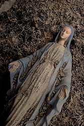 01 October, 05.  New Orleans, Louisiana. Lower 9th ward. Hurricane Katrina aftermath. <br /> The remnants of the lives of ordinary folks, now covered in mud as the flood waters recede.  A statue of the Virgin Mary lies covered in mud with a beer can resting on her face.<br /> Photo; ©Charlie Varley/varleypix.com