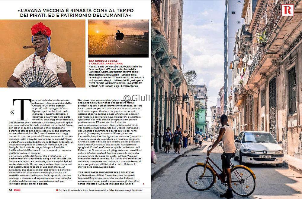 """""""Cuba: L'ultima rivoluzione"""". September 2015, OGGI magazine, Italy"""