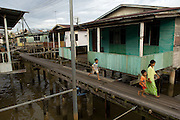 The Kampong Ayer, or floating village, built on wooden stilts