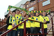 Picture by Paul Chesterton/Focus Images Ltd.  07904 640267.5/11/11.Norwich fans on the steps of the Holte End before the Barclays Premier League match at Villa Park stadium, Birmingham.