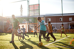 © Licensed to London News Pictures. 28/05/2017. Kırıkhan, TURKEY. Syrian orphans play football at an orphanage on the Turkish-Syrian border in Kırıkhan, near Antakya, Turkey on the first day of Ramadan during Former Minister of State for Faith and Communities, Baroness Warsi's visit. Photo credit: Tolga Akmen/LNP