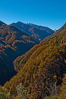 Looking across the valley to Loco in the Valle Onsernone in Ticino, Southern Switzerland.