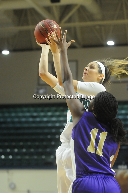 UNCW's Jordan Henry shoots over Western Carolina's Sherae Bonner Saturday November 29, 2014 at Trask Coliseum in Wilmington, N.C. (Jason A. Frizzelle)