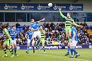 Forest Green Rovers Christian Doidge(9) jumps for the ball during the Vanarama National League match between Macclesfield Town and Forest Green Rovers at Moss Rose, Macclesfield, United Kingdom on 12 November 2016. Photo by Shane Healey.