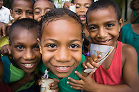 A group of school children at a village school in Vanua Levu, Fiji.