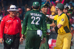 ©London News Pictures. 19/03/2011.Brad Haddin grabs Younus Khan's shirt in a heated exchange at R.Premadasa Stadium Colombo Sri Lanka