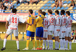 Team of drava makeing wall at 33rd Round of PrvaLiga Telekom Slovenije 2008/2009 league match between NK Luka Koper and NK Labod Drava Ptuj, on May 9, 2009, in SRC Bonifika, Koper, Slovenia. Drava won 2:1. (Photo by Vid Ponikvar / Sportida)