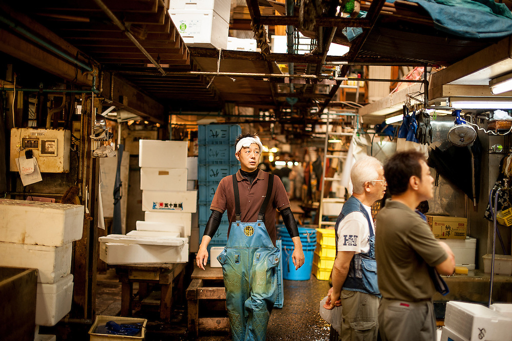 Scenes from Tsukiji Market, the largest wholesale fish market in the world, located in Tokyo, Japan. Tokyo Metropolitan Central Wholesale Market (東京都中央卸売市場