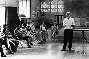 Padre Angel, giving a speech to a meeting of school leavers. Community of Nueva Esperanza, El Salvador, 1999.