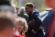 Middlesbrough forward Britt Assombalonga (9) arriving at the ground during the EFL Sky Bet Championship match between Middlesbrough and Stoke City at the Riverside Stadium, Middlesbrough, England on 19 April 2019.