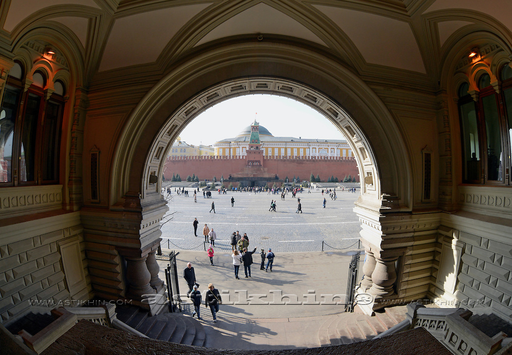 Russia, Moscow, Red Square, The Kremlin, Lenin Mausoleum, view from GUM.