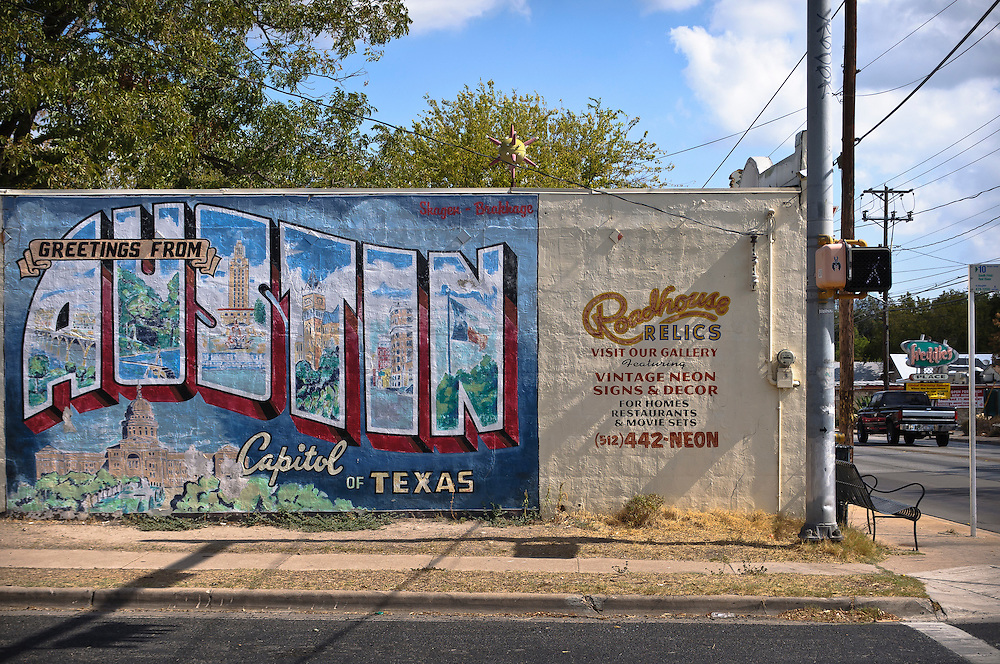Old postcard of Austin painted on a wall in Austin, Texas