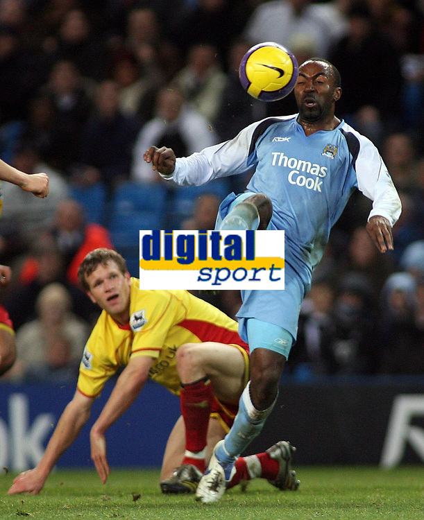 Photo: Paul Thomas.<br /> Manchester City v Watford. The Barclays Premiership. 04/12/2006.<br /> <br /> Darius Vassell (R) of Man City gets past Jay Demerit of Watford.