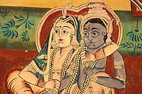 Inde - Rajasthan - Shekawati - Village de Nawalgarh - Peinture à l'interieur d'une Haveli (Palais)
