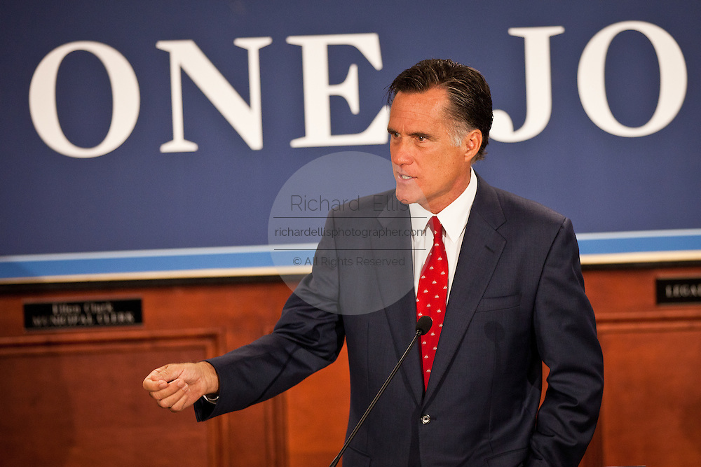 Gov. Mitt Romney attacks the NLRB complaint against Boeing after touring the new Boeing facility September 12, 2011 in North Charleston, South Carolina.  Romney said the NLRB complaint against Boeing is political payback by Obama to the labor unions.