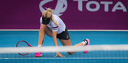 February 9, 2019 - Doha, QATAR - Eugenie Bouchard of Canada in action during qualifications for the 2019 Qatar Total Open WTA Premier tennis tournament (Credit Image: © AFP7 via ZUMA Wire)