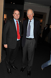 Left to right, LORD DALMENY and LORD ROTHSCHILD at the Private View of the Pavilion of Art & Design London 2011 held in Berkeley Square, London on 10th October 2011.