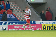 Doncaster Rovers Forward Liam Mandeville (14) celebrates as he scores a goal3-0 during the The FA Cup match between Doncaster Rovers and Scunthorpe United at the Keepmoat Stadium, Doncaster, England on 3 December 2017. Photo by Craig Zadoroznyj.