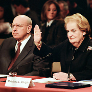 "Thomas ""Tom"" Pickering (left), former Under Secretary of State for Political Affairs; and Madeleine Albright, Former Secretary of State, being sworn in at the 9/11 Commission's Public Hearing Number 8 on Tuesday, 23 March 2004."